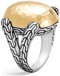 John Hardy | Sterling Silver And 18k Bonded Gold Classic Chain Hammered Large Oval Ring | Lyst