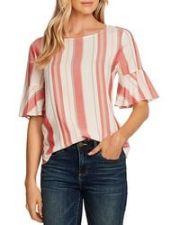 Vince Camuto Flutter Cuff Striped Top - Red