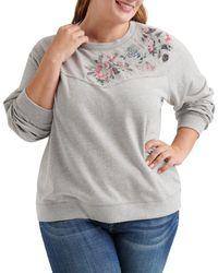 Lucky Brand - Floral Detail Sweatshirt - Lyst