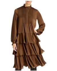 Lafayette 148 New York Raines Ruffled Dress - Brown