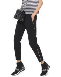 Michael Kors Studded Cropped Zip Hem Pants - Black