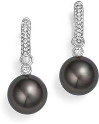 Tara Pearls - 18k White Gold Cultured Tahitian Black Pearl & Diamond Huggie Earrings - Lyst