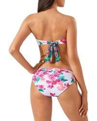 Tommy Bahama Bougainvillea Twist Printed Bandeau Bikini Top - White