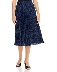 T Tahari Dot Print Pleated Midi Skirt - Blue