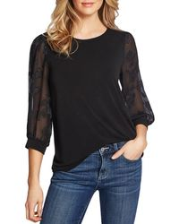 Cece By Cynthia Steffe Lace - Sleeve Top - Black