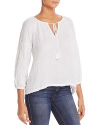 Three Dots - Cotton Gauze Peasant Top - Lyst
