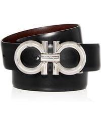 Ferragamo Men's Double Gancini Reversible Leather Belt - Multicolour
