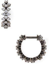 Nadri Aura Lattice Huggie Hoop Earrings - Black