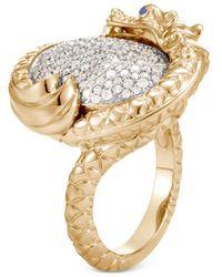 John Hardy - 18k Yellow Gold Legends Naga Diamond Ring With Blue Sapphire - Lyst