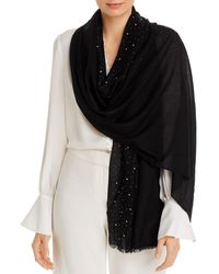 Fraas Solid Sparkle Wool & Cashmere Wrap Scarf - Black