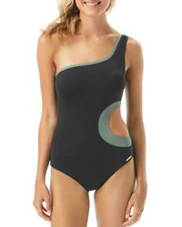 Vince Camuto Color - Blocked Layered One - Shoulder One Piece Swimsuit - Black