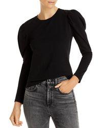 Aqua Puff Long Sleeve Knit Top - Black