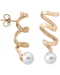 Majorica - Simulated Pearl Spiral Drop Earrings In Gold - Plated Sterling Silver Or Sterling Silver - Lyst