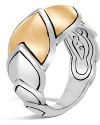 John Hardy - Sterling Silver & 18k Bonded Gold Legends Naga Brushed Medium Ring - Lyst