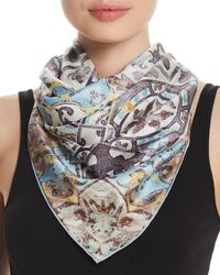 Fraas - Distressed Tile Silk Square Scarf - Lyst