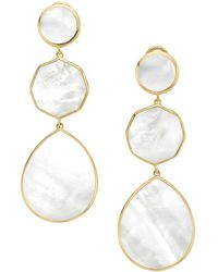 Ippolita 18k Yellow Gold Polished Rock Candy Crazy 8s Mother - Of - Pearl Clip - On Drop Earrings - Metallic