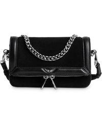 Zadig & Voltaire Rock Nano Novel Foldover Chain Strap Bag - Black