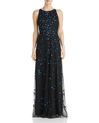 Adrianna Papell Sequined Floral Gown - Black