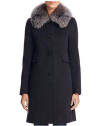 Maximilian X Trilogy Fox Fur Collar Wool Coat - Blue