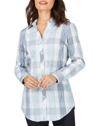 Foxcroft Faith Crinkle Buffalo Plaid Tunic Top - Blue
