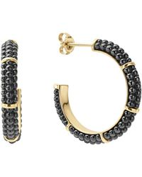 Lagos - Gold & Black Caviar Collection 18k Gold & Ceramic Hoop Earrings - Lyst