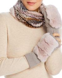 Jocelyn - Knit Rabbit Fur Cowl & Rabbit - Fur Trim Fingerless Mittens - Lyst