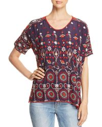 Johnny Was - Melia Short-sleeve Embroidered Blouse - Lyst