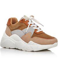Aqua Women's Alba Mixed Media Platform Sneakers - Brown