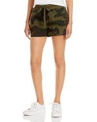 Aqua Camo Print Drawstring Shorts - Green