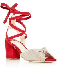 Isa Tapia Women's Alma Linen & Suede Ankle Tie Block Heel Sandals - Red