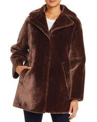 T Tahari Oversized Faux Fur Coat - Brown