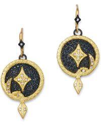 Armenta 18k Yellow Gold & Blackened Sterling Silver Old World Champagne Diamond Serpent Disc Drop Earrings - Metallic