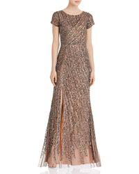 Adrianna Papell Beaded Mesh Floor - Length Dress - Multicolour