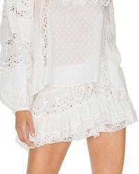 LoveShackFancy Briella Eyelet Ruffled Mini Skirt - White