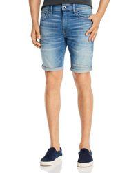 G-Star RAW G - Star Raw 3301 Denim Slim Fit Shorts In Vintage Striking Blue