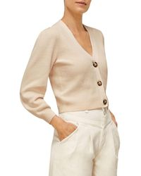 Whistles Puff Sleeve Cropped Cardigan - Natural