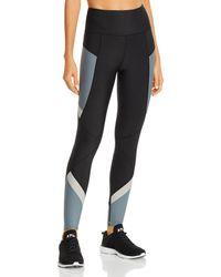 Aqua Athletic High - Rise Color - Block Leggings - Black