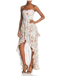 Aqua - Floral Strapless High/low Maxi Dress - Lyst