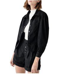 DL1961 Clarita Coated Button Up Jacket - Black
