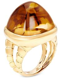Marina B 18k Yellow Gold Sugarloaf Citrine Tigella Ring - Metallic