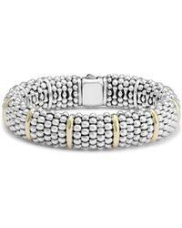 Lagos Sterling Silver Signature Caviar Bracelet With 18k Yellow Gold Stations - Metallic