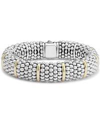 Lagos Silver Caviar Oval Bracelet With 18k Gold, 15mm - Metallic
