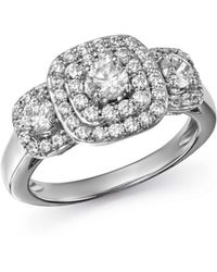 Bloomingdale's - Diamond Halo Ring In 14k White Gold - Lyst