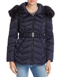 T Tahari Leon Faux Fur Trim Belted Puffer Coat - Blue