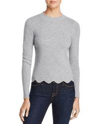 Aqua - Cashmere Scallop-trim Sweater - Lyst