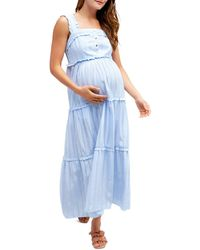 Nom Maternity Emma Tiered Floral During & After Dress - Blue