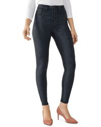 DL1961 Chrissy Coated Ankle Ultra High Rise Skinny Jeans - Blue