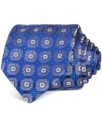 Bloomingdale's Baroque Medallion Silk Classic Tie - Blue