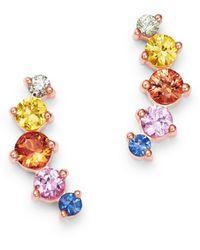 Bloomingdale's Sapphire Rainbow Stud Earrings In 14k Rose Gold - Metallic
