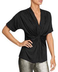 Halston Draped Knit Jersey Top - Black